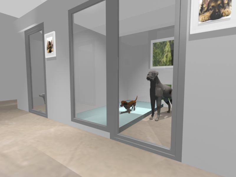 Wizualizacja komputerowa kojców po remoncie. Kojce będą miały szklane fronty, ogrzewanie podłogowe, obniżony sufit.